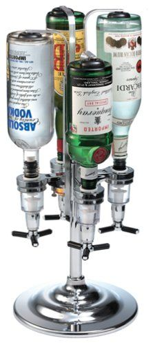 Bartender's rotating drink dispenser for fast and easy cocktail mixing Holds up to 4, 1-liter bottles of various shapes and sizes Aluminum spring-loaded rods and large base keep bottles secure Continue reading