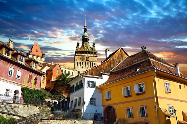 Medieval clock tower & gate of Sighisoara Saxon - fortified medieval citadel, Transylvania, Romania