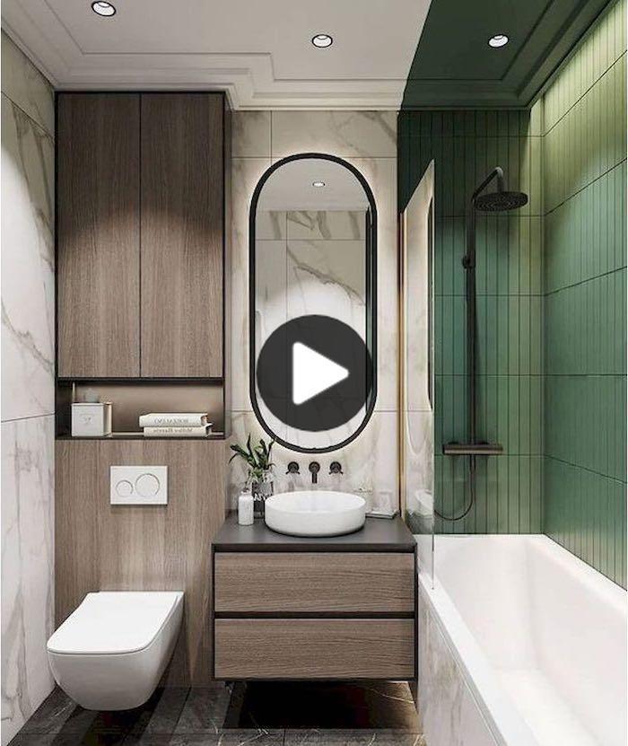 でも最小の浴室スペースはモダンでスタイリッシュに見えることができ