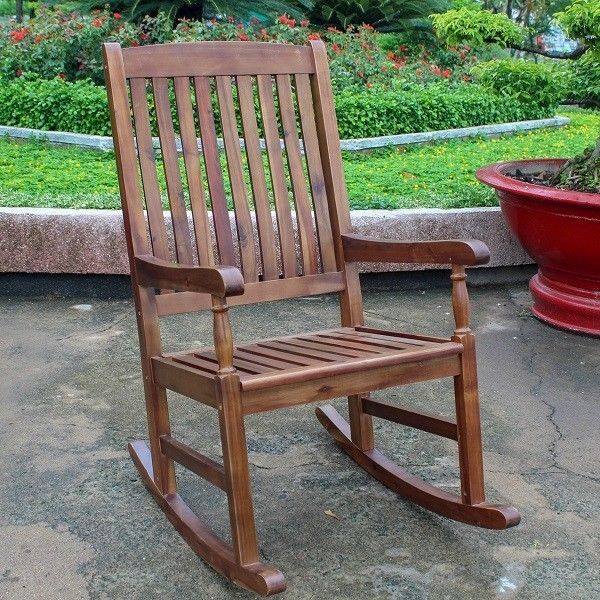 Rocking Chair Traditional Porch Outdoor Deck Patio Acacia Wood Extra ...