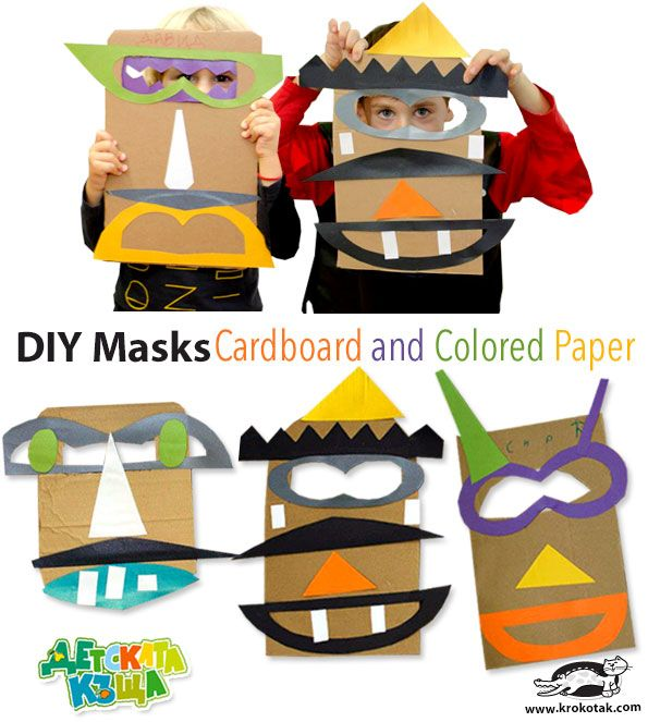 http://krokotak.com/2015/11/masks-from-corrugated-cardboard-and-colored-paper/