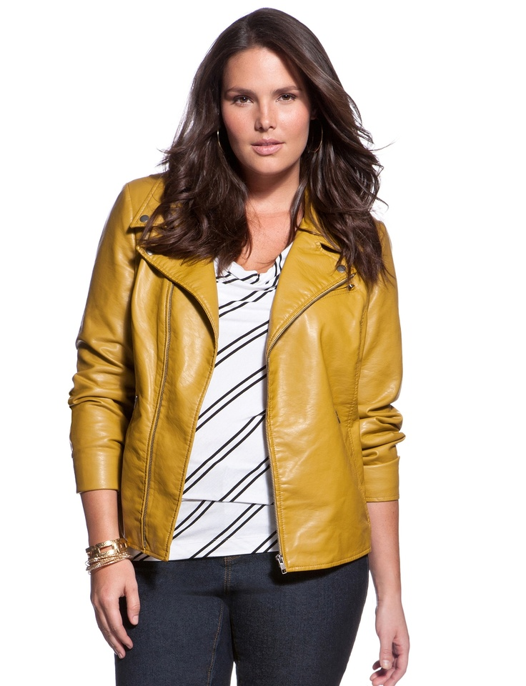 Women's plus size leather bomber jacket