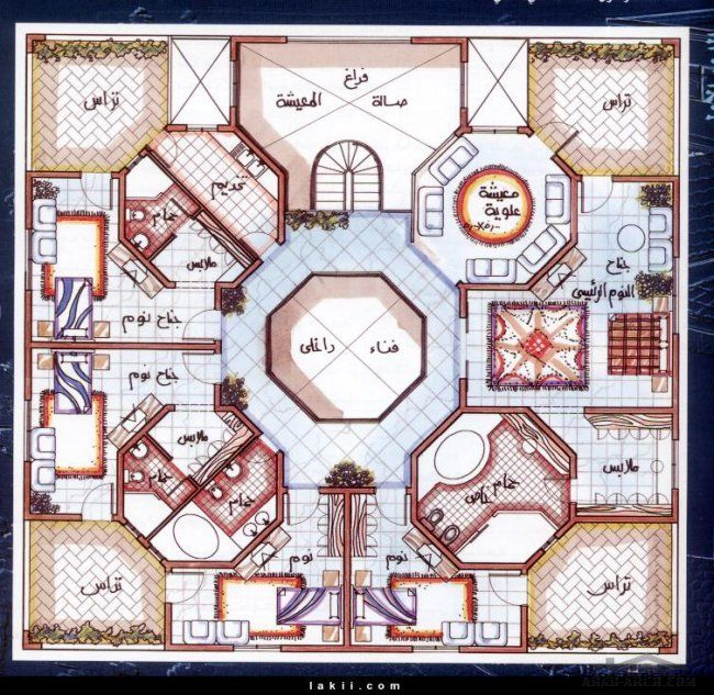 اروع مخطط فيلا 20م 20م بفناء داخلى واجنحه منفصلة للنساء Classic House Design Model House Plan Square House Plans
