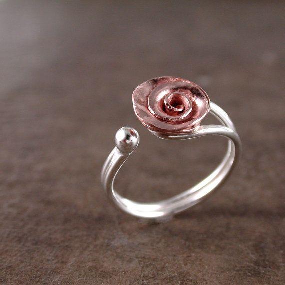 Anillo color de rosa cobre plata ajustable por BarronDesignStudio