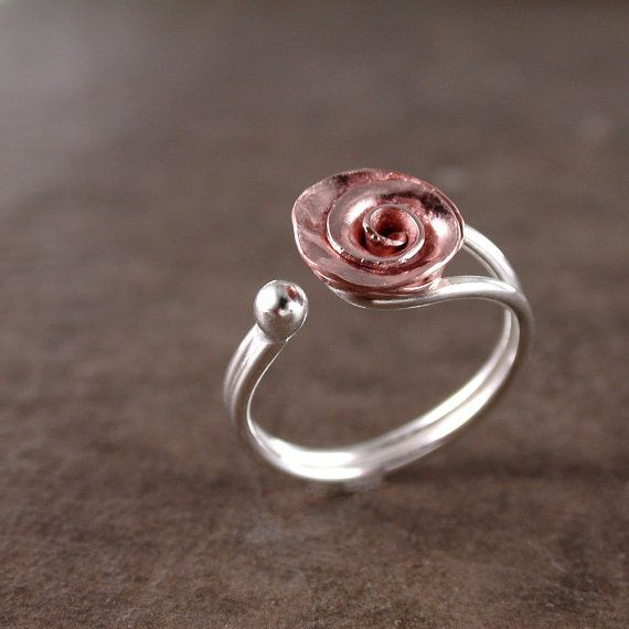 Anillo color de rosa cobre plata ajustable por BarronDesignStudio