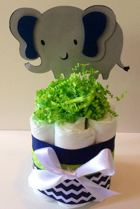 Set of 6 mini diaper cakes Elephant diaper cake Navy and