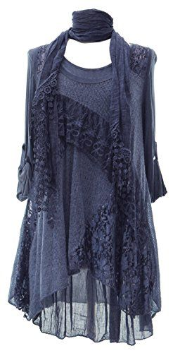 Ladies Womens Italian Lagenlook Quirky Layering 3 Piece Sequin Lace Knit Mohair Long Sleeves Scarf Tunic Top Dress One Size Plus (UK 10-20) (One Size Plus, Dark Blue) Generic http://www.amazon.co.uk/dp/B00OBQ01GM/ref=cm_sw_r_pi_dp_42QHvb05P424D