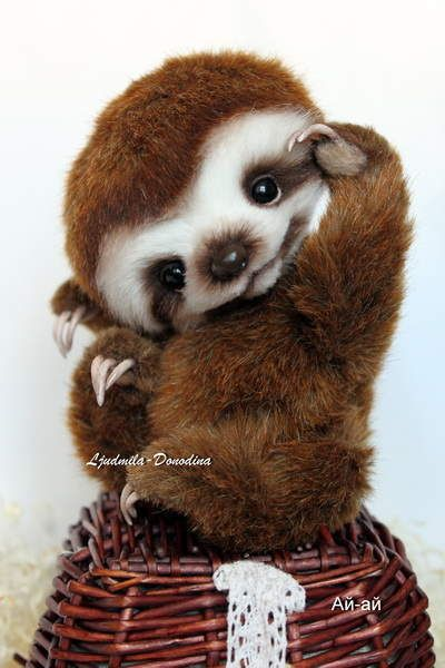 Baby Sloth By Ljudmila Donodina - I am very glad to introduce to you Baby Sloth. • He is 13 sm in sitten position. He can't stand • made from synthetics fax fur• hand sculpted epoxy clay nose, claws • glass eyes • armature in the arms and legs • filled with polyester and metal granulate �...