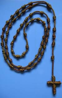 An all-twine rosary; so easy to make, and great fun for kids, too!