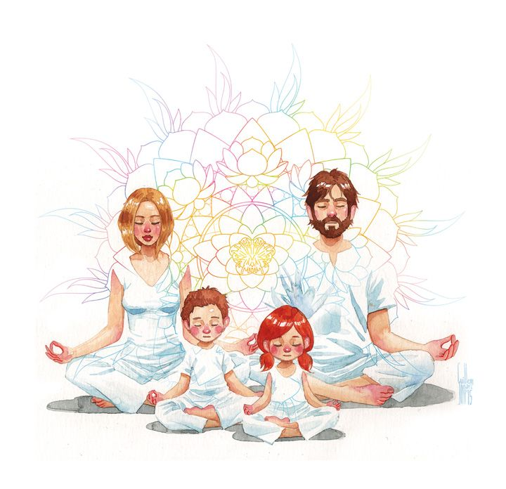 Family meditation. Illustration by Guillem Marí.