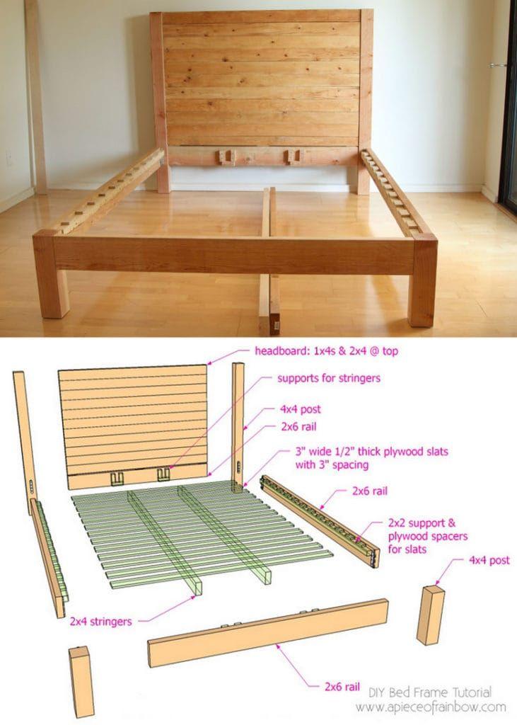 Diy Bed Frame Wood Headboard 1500 Look For 100 Diy Bed Frame Diy Bed Frame Plans Diy Bed Frame Easy