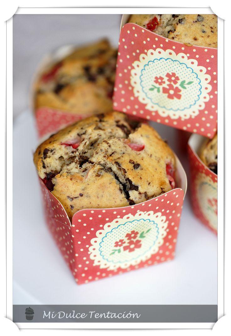 Mi dulce tentación: Muffins de Fresas con Nata y Chocolate