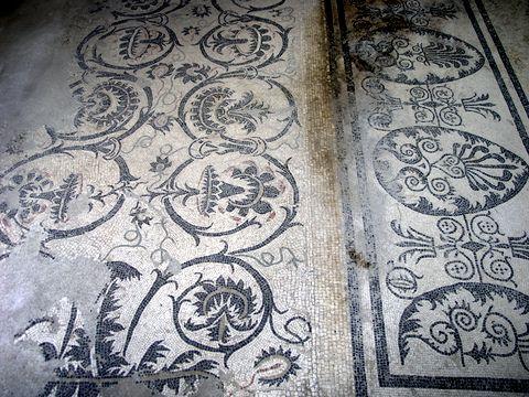 Mosaic floor in Pompei, Italy