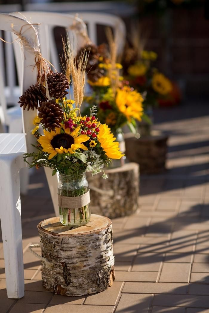 Sunflower bouquets in glasses and on birch trunks