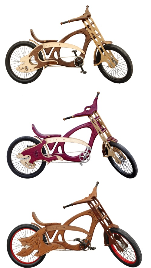 Handmade Wooden bicycles - wood is selected from the inventory at The Green Sawmill in San Mateo, Ca. where they recover and mill trees from local Bay Area communities.
