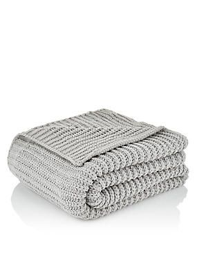 Cream Chenille Knitted Throw