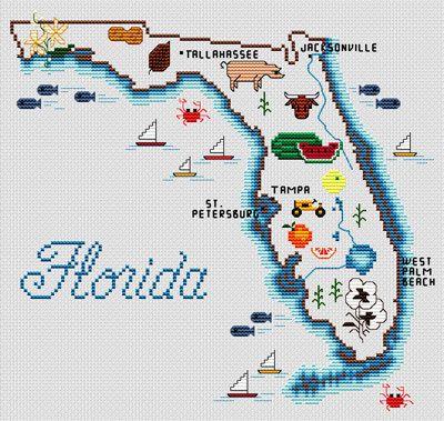 mexico 66 sneaker whitebluered Florida Map   Cross Stitch Pattern