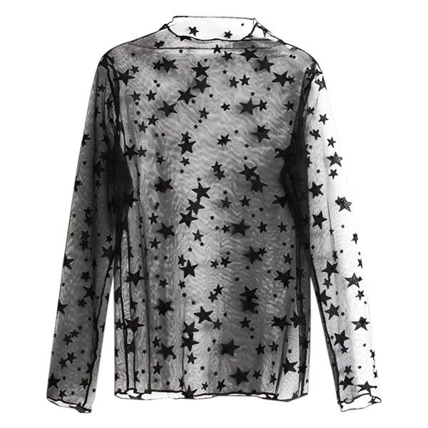 Star See-Through Blouse Black ($20) ❤ liked on Polyvore featuring tops, blouses, transparent top, see through blouse, see through tops, star print blouse and star blouse