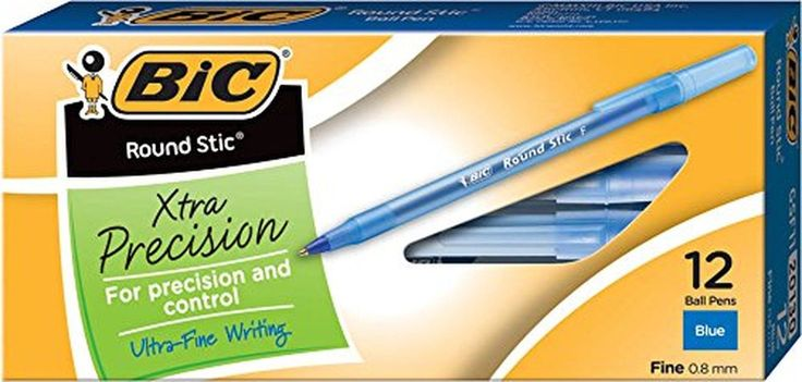 BIC Round Stic Xtra Precision Ball Pen Fine Point (0.8 mm) Blue 12-Count 1-Pack