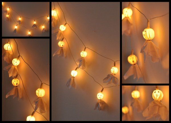 Cuki szellemes fény girland - Masni / Super cute halloween, ghost garland DIY