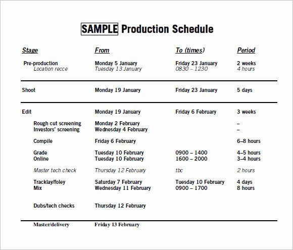 Pre Production Schedule Template Best Of Free 10 Sample Production Timelines In Examples Format Schedule Template Templates Schedule Templates