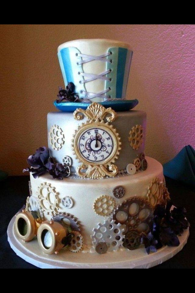 Alice in wonderland steampunk cake