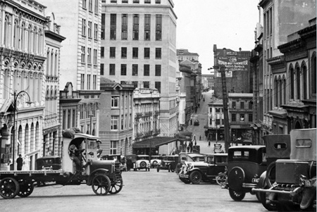 Shortland Street, Auckland. The site of Thomas Henderson's Commercial Hotel is now De Bretts Hotel.