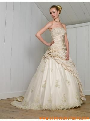 licht champagne prinses riemless kant taf Trouwjurken 2011