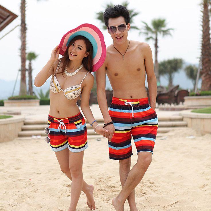 Mens Womens Lovers Couple Striped Beach Surf Board Swim Shorts Pants Swimwear…