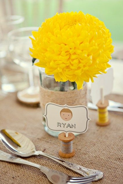 Yellow with spooled place card for yellow themed weddings Keywords: #weddings #jevelweddingplanning Follow Us: www.jevelweddingplanning.com  www.facebook.com/jevelweddingplanning/