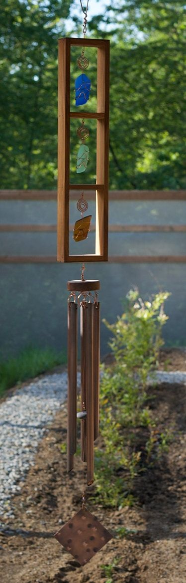 Glass and Copper Handcrafted Wind Chime, Beach Glass, Sea Glass, Stained Glass on Etsy, $195.00