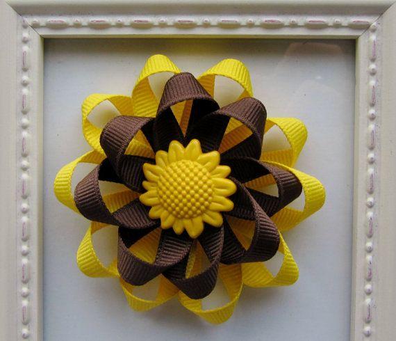 Fall Sunflower Loopy Hair Bow  Cute for Fall by HairBowsbyMarsha