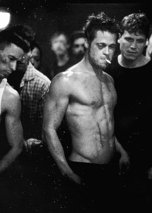 Fight Club - Brad Pitt - Black & white movie photography