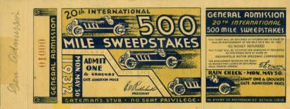 Indianapolis 500 Ticket, 1932 :: Indianapolis Motor Speedway Collection