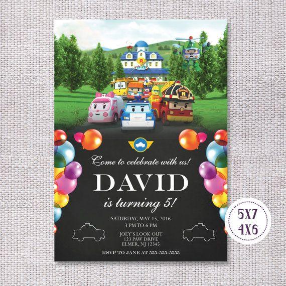 Robocar Poli Birthday Invitation / Birthday Party Ideas #robocarpoli #birthday # superheros #invite #invitation # #partyideas #birthdayparty #tomasinadesign