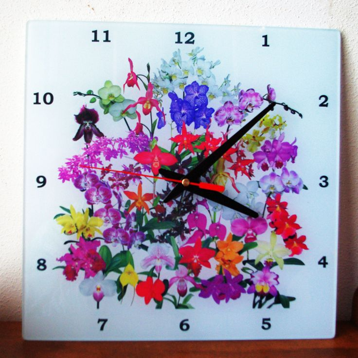 Orchids Glass Wall Clock with hanger, tropical flower garden red, pink, yellow, green, office decor, floral decor, wall art by RVJamesDesigns on Etsy