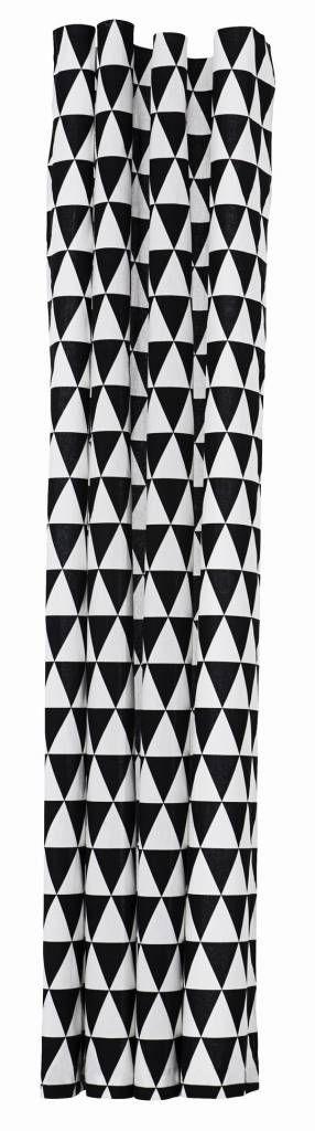Ferm Living Douchegordijn Triangle zwart/wit katoen waterproof 180x200cm