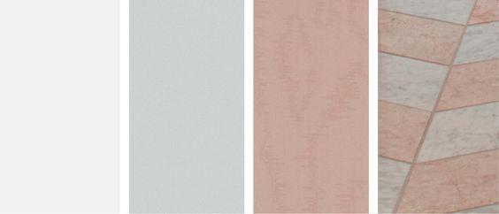 Una paleta de colores rosada y gris para el baño, la inspiración del diseño.