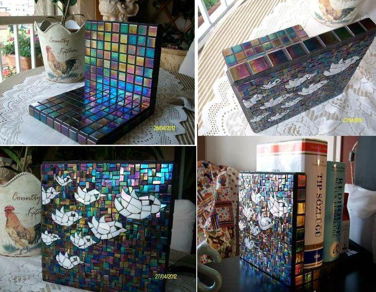 my second mosaic work mosaic Bookshelf  made with love