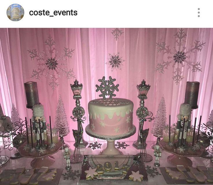 Winter Wonderland Pink White And Silver Dessert