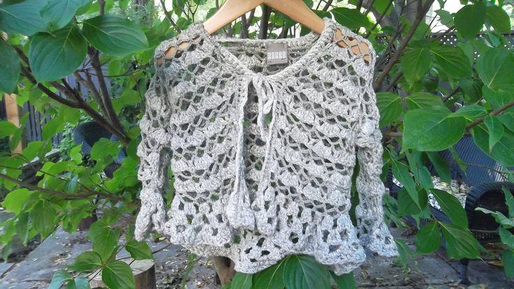 Beautiful cotton crochet cardi, in silver-grey!  Size 4