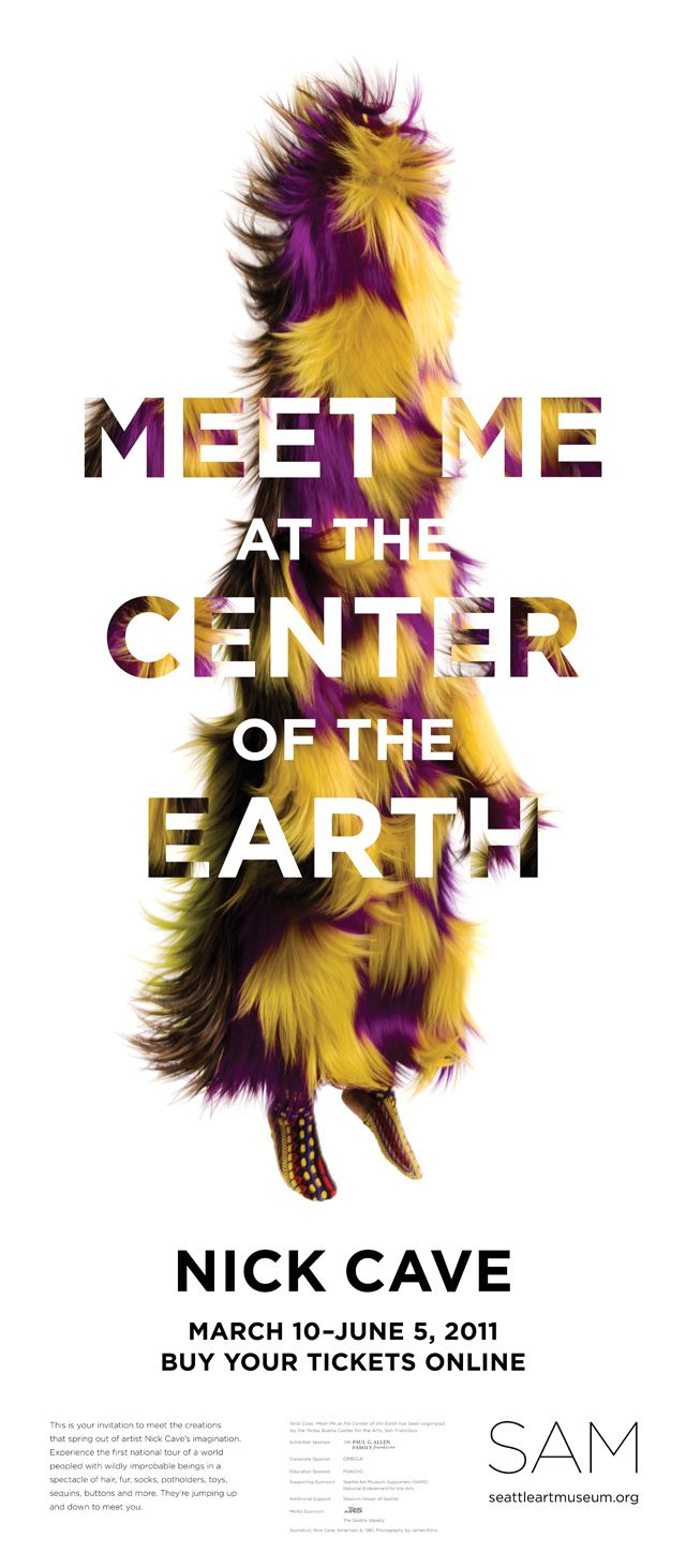 """Ruth - just text -Nick Cave """"Meet Me at the Center of the Earth"""" exhibition poster"""