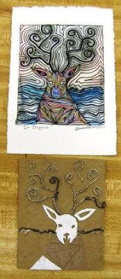 Make a collograph pull an embossed print, then add other media to color in. So doing this! ARTISUN: Printmaking