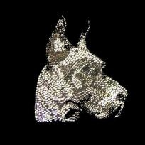 Great Dane Rhinestone Crystal Large Breed Pet Iron-On