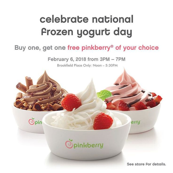 Celebrating National Frozen Yogurt Day!    On Feb. 6 from 12PM to 5:30PM, get a FREE Pinkberry with the purchase of one!   Located in Brookfield Place, 161 Bay St. Toronto    #nationalfrozenyogurtday #frozenyogurtday #pinkberry #pinkberrycanada #brookfieldplace #bceplace #toronto #torontoeats #frozenyogurt #torontofood #토론토 #토론토맛집 #토론토일상 #요구르트아이스크림 #프로즌요거트
