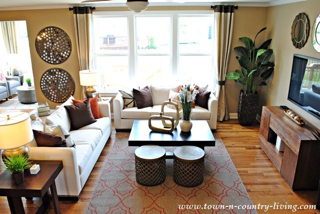 Industrial Chic Living Room. Riverton Model by Pulte.