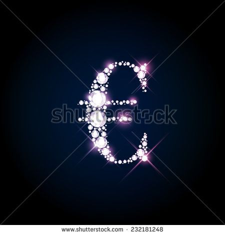 Diamond glittering Euro sign of sparkling brilliants (glitter font concept)