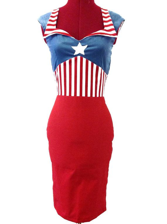 Made to measure dress inspired by the marvel character captain America. Optional red or blue skirt. Red and white stripe detailing, blue top with