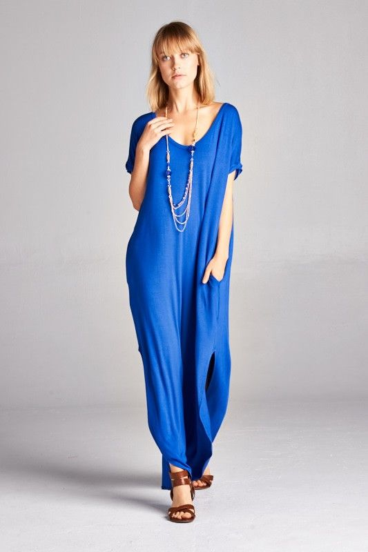 Loose Fit Long Dress with Pocket and Side Open Detail