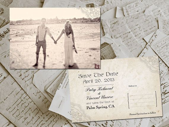 "50 Wedding Save The Date Card - HoverBay Vintage Lace Photo Personalized 4""x6"". $59.00, via Etsy."